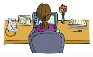 efficient virtual assistant working at a tidy desk